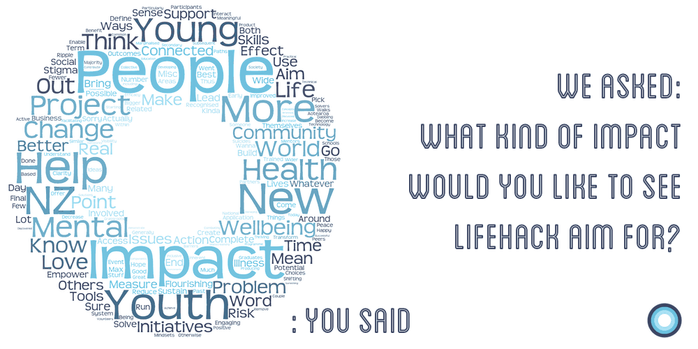 Lifehack crowdsourced community insights about what impact we should aim for - in a word cloud