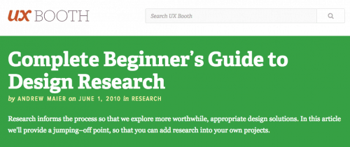 Beginner's Guide to Design Research - UX Booth
